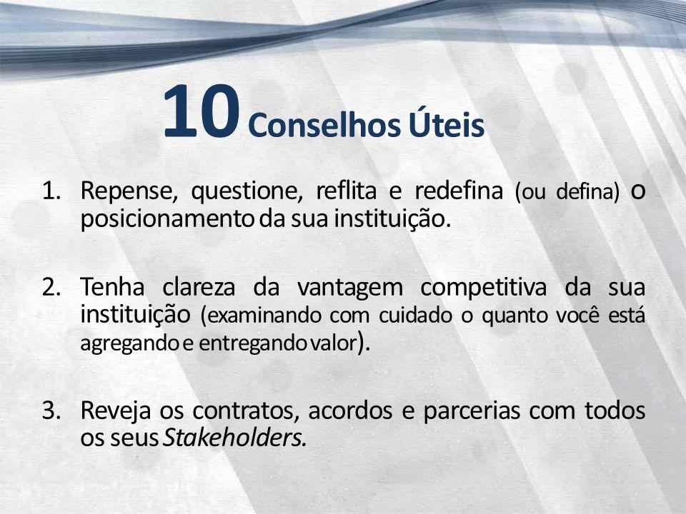 10 Conselhos Úteis 1.Repense, questione, reflita e redefina (ou defina) o posicionamento da sua instituição.