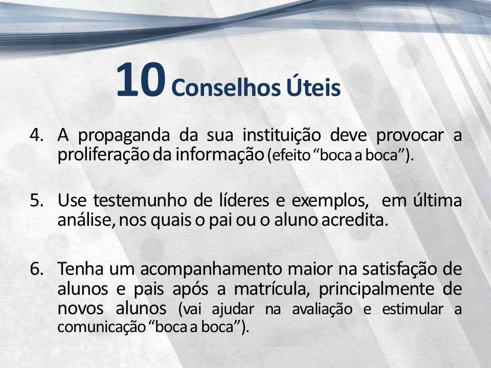 10 Conselhos Úteis 4.A propaganda da sua instituição deve provocar a proliferação da informação (efeito boca a boca ).