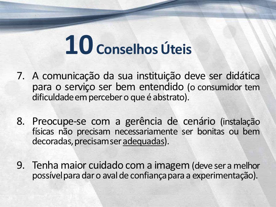 10 Conselhos Úteis 7.A comunicação da sua instituição deve ser didática para o serviço ser bem entendido (o consumidor tem dificuldade em perceber o que é abstrato).