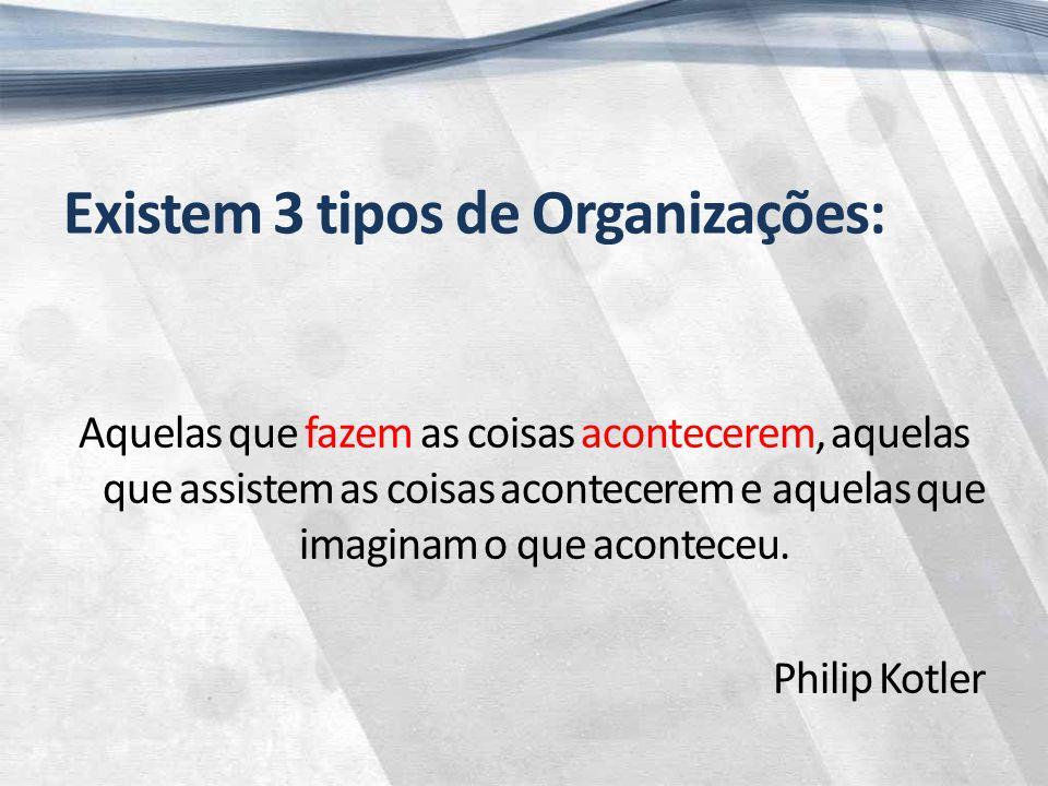 Existem 3 tipos de Organizações: Aquelas que fazem as coisas acontecerem, aquelas que assistem as coisas acontecerem e aquelas que imaginam o que aconteceu.