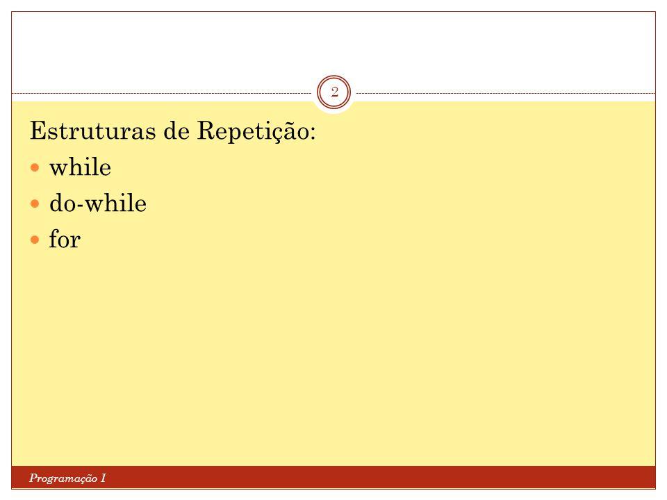 Estruturas de Repetição Programação I 3 As estruturas de repetição permitem executar repetidamente um conjunto de instruções, até que uma determinada condição seja alcançada.