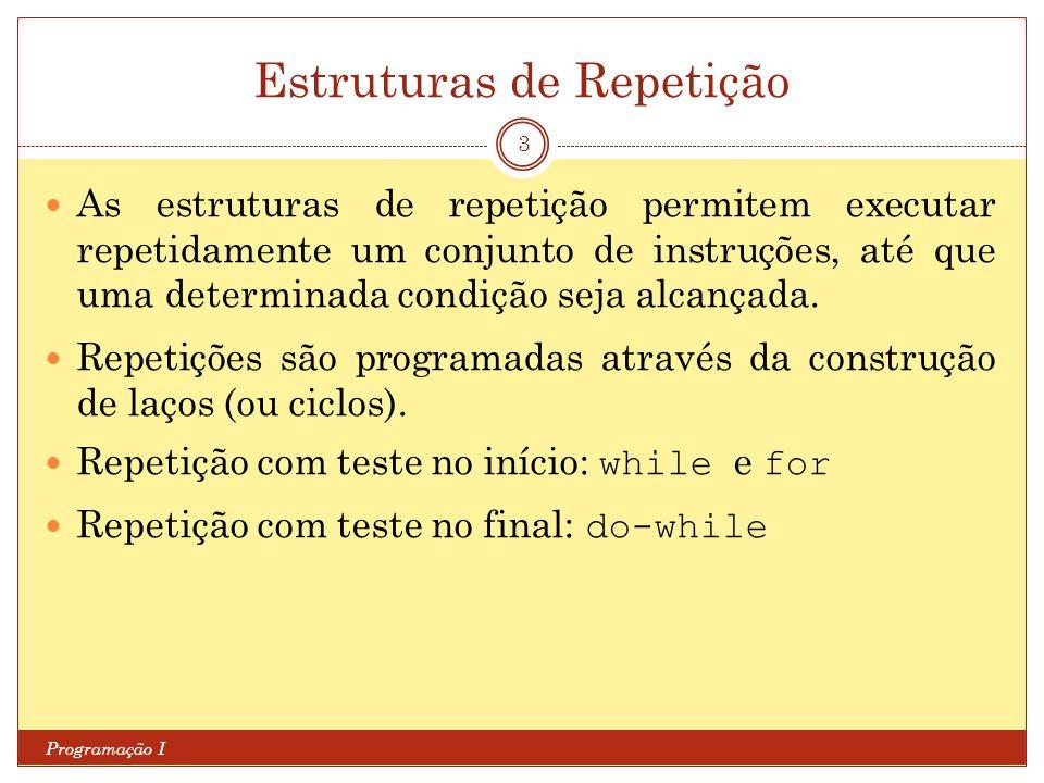 Estruturas de Repetição Programação I 3 As estruturas de repetição permitem executar repetidamente um conjunto de instruções, até que uma determinada
