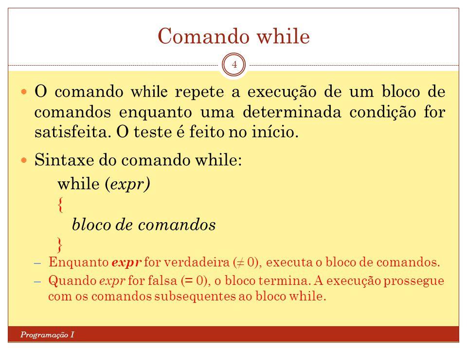 Comando while Programação I 4 O comando while repete a execução de um bloco de comandos enquanto uma determinada condição for satisfeita. O teste é fe