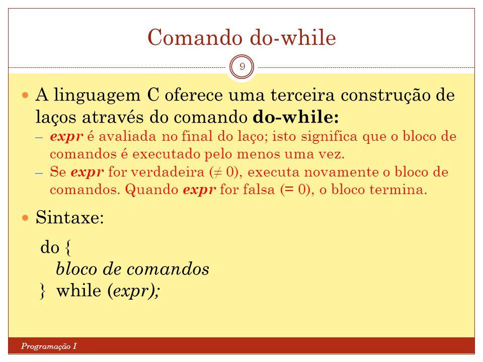 Comando do-while: exemplo 1 Programação I 10 /* Fatorial (versao 3) */ #include int main (void) { int i; int n; int f = 1; /* requisita valor até um número não negativo ser informado */ do { printf( Digite um valor inteiro nao negativo: ); scanf ( %d , &n); } while (n<0); /* calcula fatorial */ for (i = 1; i <= n; i++) f *= i; printf( Fatorial = %d\n , f); system( PAUSE ); return 0; }
