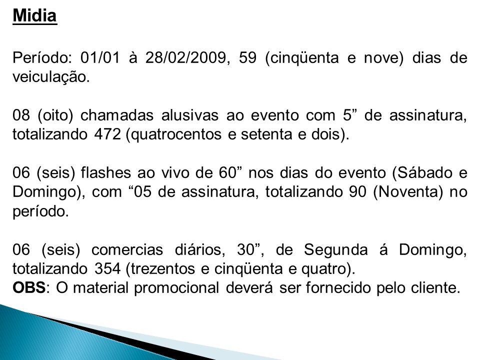 Midia Período: 01/01 à 28/02/2009, 59 (cinqüenta e nove) dias de veiculação.