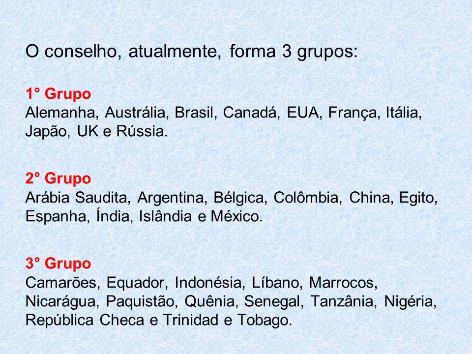O conselho, atualmente, forma 3 grupos: 1° Grupo Alemanha, Austrália, Brasil, Canadá, EUA, França, Itália, Japão, UK e Rússia. 2° Grupo Arábia Saudita