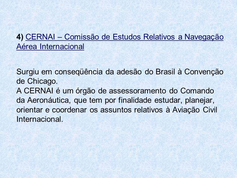 4) CERNAI – Comissão de Estudos Relativos a Navegação Aérea Internacional Surgiu em conseqüência da adesão do Brasil à Convenção de Chicago. A CERNAI