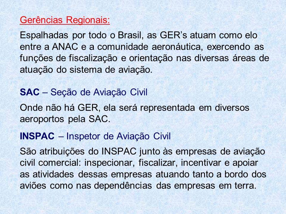Gerências Regionais: Espalhadas por todo o Brasil, as GER's atuam como elo entre a ANAC e a comunidade aeronáutica, exercendo as funções de fiscalizaç