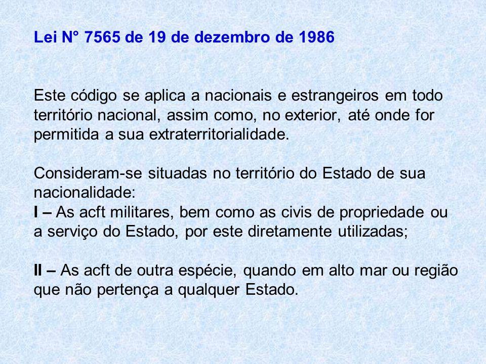 Lei N° 7565 de 19 de dezembro de 1986 Este código se aplica a nacionais e estrangeiros em todo território nacional, assim como, no exterior, até onde