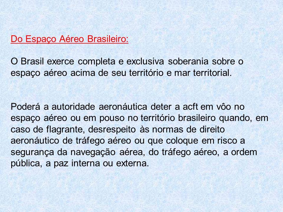 Do Espaço Aéreo Brasileiro: O Brasil exerce completa e exclusiva soberania sobre o espaço aéreo acima de seu território e mar territorial. Poderá a au