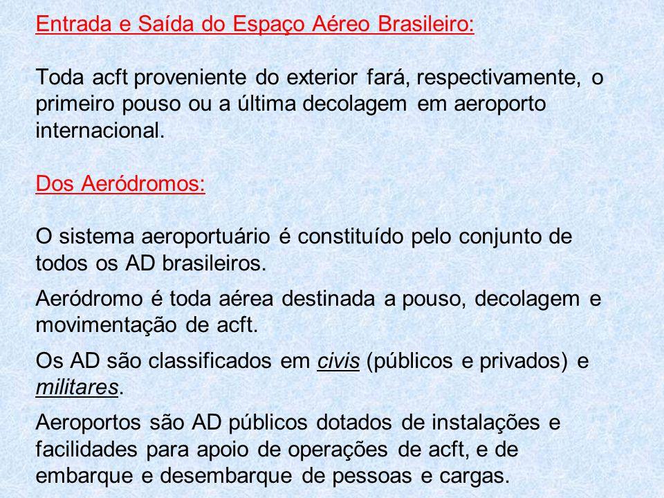 Entrada e Saída do Espaço Aéreo Brasileiro: Toda acft proveniente do exterior fará, respectivamente, o primeiro pouso ou a última decolagem em aeropor