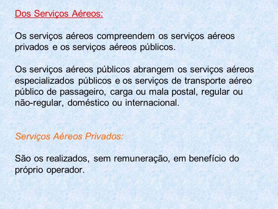Dos Serviços Aéreos: Os serviços aéreos compreendem os serviços aéreos privados e os serviços aéreos públicos. Os serviços aéreos públicos abrangem os