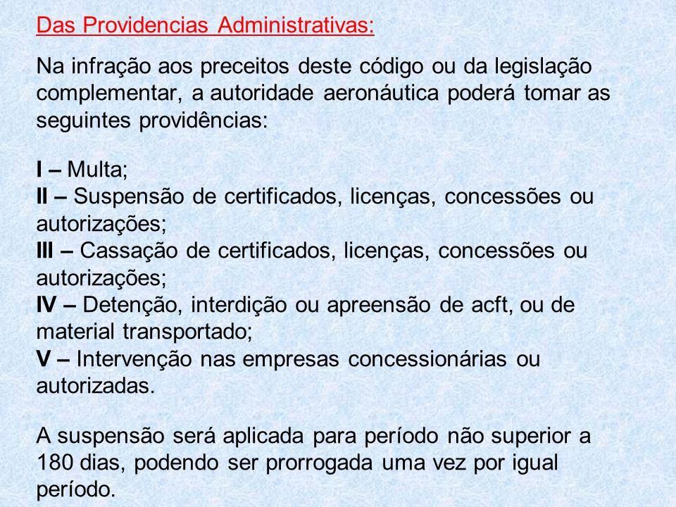 Das Providencias Administrativas: Na infração aos preceitos deste código ou da legislação complementar, a autoridade aeronáutica poderá tomar as segui
