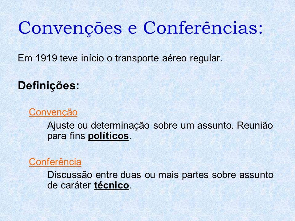 Convenções e Conferências: Em 1919 teve início o transporte aéreo regular. Definições: Convenção Ajuste ou determinação sobre um assunto. Reunião para