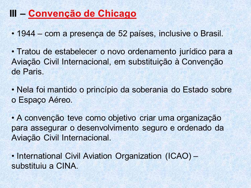 III – Convenção de Chicago 1944 – com a presença de 52 países, inclusive o Brasil. Tratou de estabelecer o novo ordenamento jurídico para a Aviação Ci