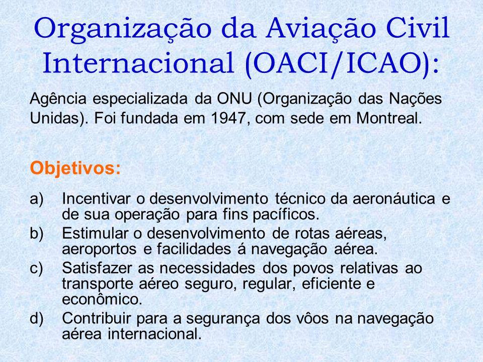 Organização da Aviação Civil Internacional (OACI/ICAO): Agência especializada da ONU (Organização das Nações Unidas). Foi fundada em 1947, com sede em