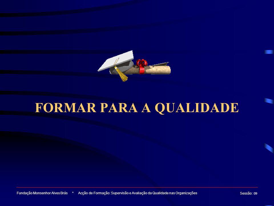 FORMAR PARA A QUALIDADE Fundação Monsenhor Alves Brás * Acção de Formação: Supervisão e Avaliação da Qualidade nas Organizações Sessão : 09