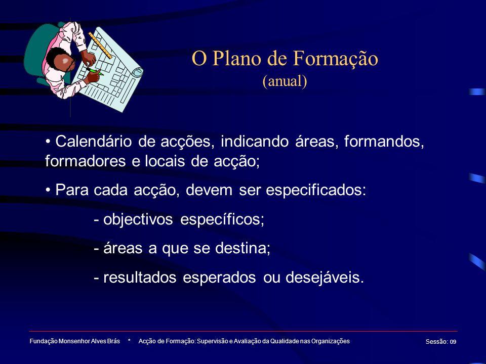O Plano de Formação (anual) Fundação Monsenhor Alves Brás * Acção de Formação: Supervisão e Avaliação da Qualidade nas Organizações Sessão : 09 Calendário de acções, indicando áreas, formandos, formadores e locais de acção; Para cada acção, devem ser especificados: - objectivos específicos; - áreas a que se destina; - resultados esperados ou desejáveis.