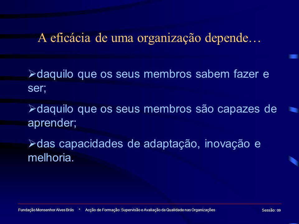 A eficácia de uma organização depende… Fundação Monsenhor Alves Brás * Acção de Formação: Supervisão e Avaliação da Qualidade nas Organizações Sessão : 09  daquilo que os seus membros sabem fazer e ser;  daquilo que os seus membros são capazes de aprender;  das capacidades de adaptação, inovação e melhoria.