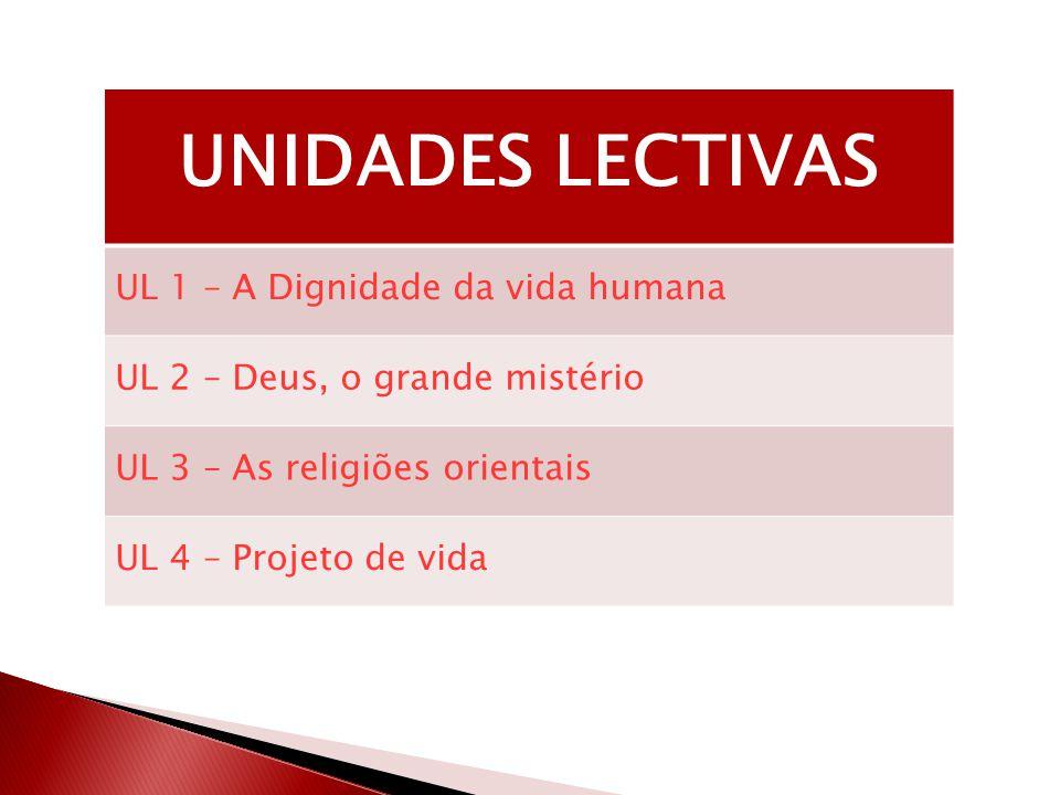 UNIDADES LECTIVAS UL 1 – A Dignidade da vida humana UL 2 – Deus, o grande mistério UL 3 – As religiões orientais UL 4 – Projeto de vida