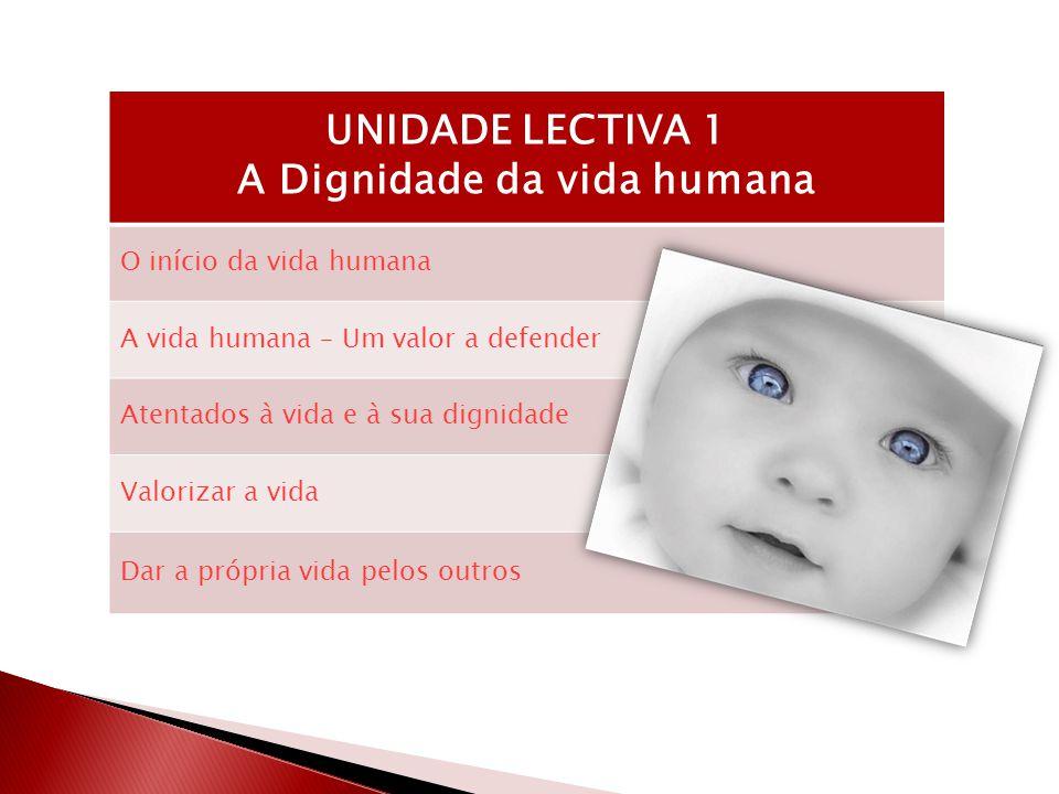 UNIDADE LECTIVA 1 A Dignidade da vida humana O início da vida humana A vida humana – Um valor a defender Atentados à vida e à sua dignidade Valorizar a vida Dar a própria vida pelos outros