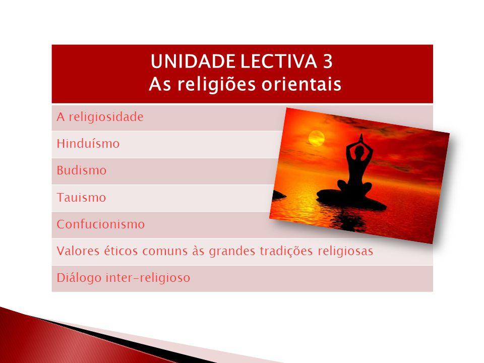 UNIDADE LECTIVA 3 As religiões orientais A religiosidade Hinduísmo Budismo Tauismo Confucionismo Valores éticos comuns às grandes tradições religiosas Diálogo inter-religioso