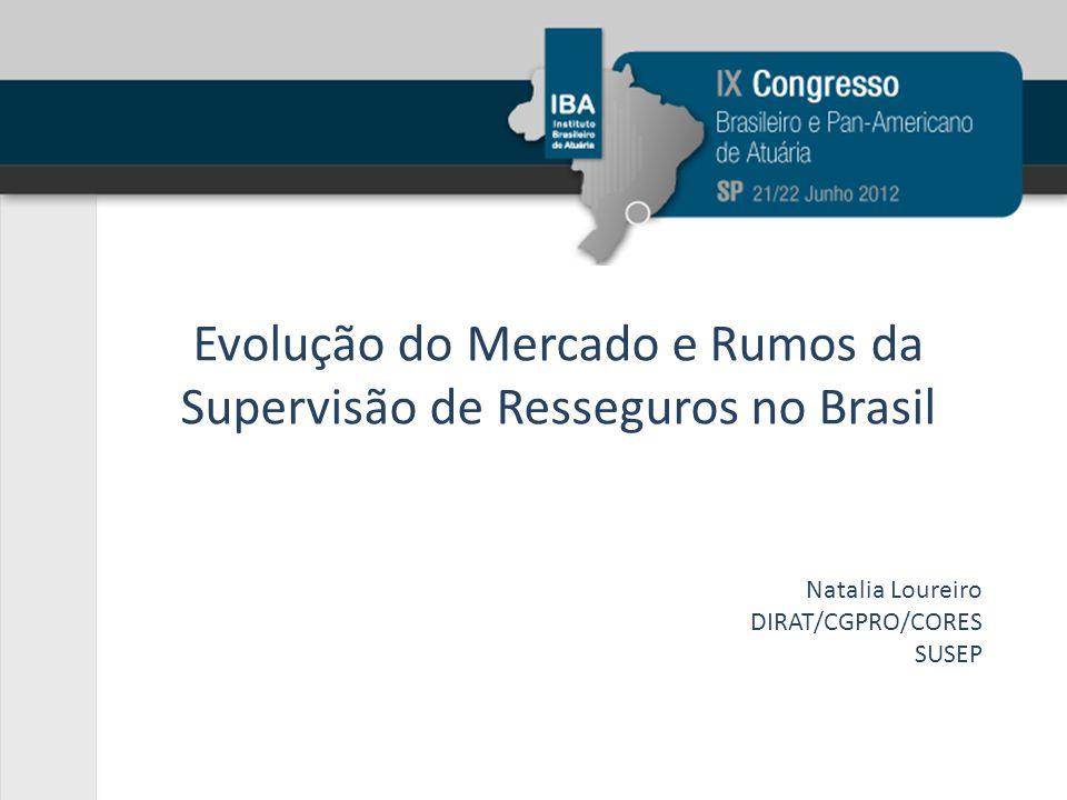 Evolução do Mercado e Rumos da Supervisão de Resseguros no Brasil Natalia Loureiro DIRAT/CGPRO/CORES SUSEP