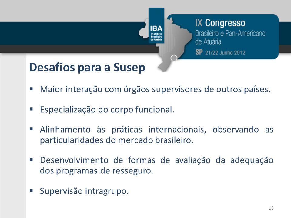 Desafios para a Susep  Maior interação com órgãos supervisores de outros países.  Especialização do corpo funcional.  Alinhamento às práticas inter