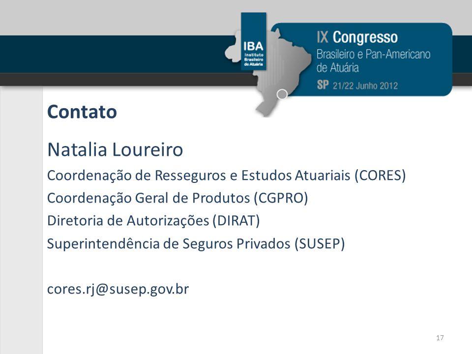 Contato Natalia Loureiro Coordenação de Resseguros e Estudos Atuariais (CORES) Coordenação Geral de Produtos (CGPRO) Diretoria de Autorizações (DIRAT)