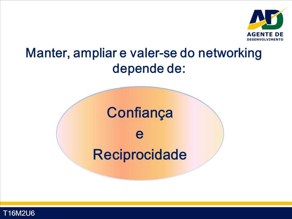 T16M2U6 Manter, ampliar e valer-se do networking depende de: Confiança e Reciprocidade
