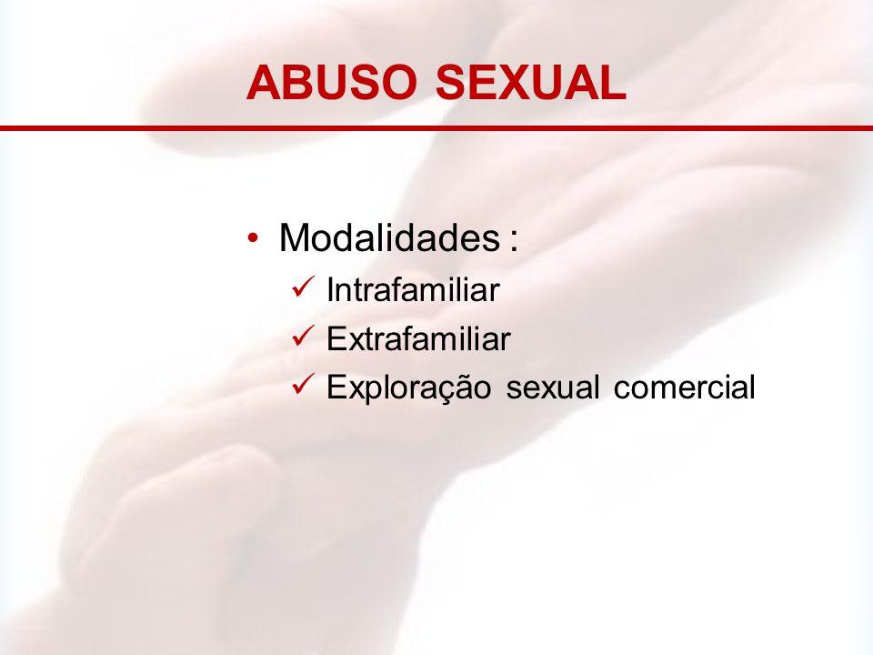 ABUSO SEXUAL Modalidades : Intrafamiliar Extrafamiliar Exploração sexual comercial