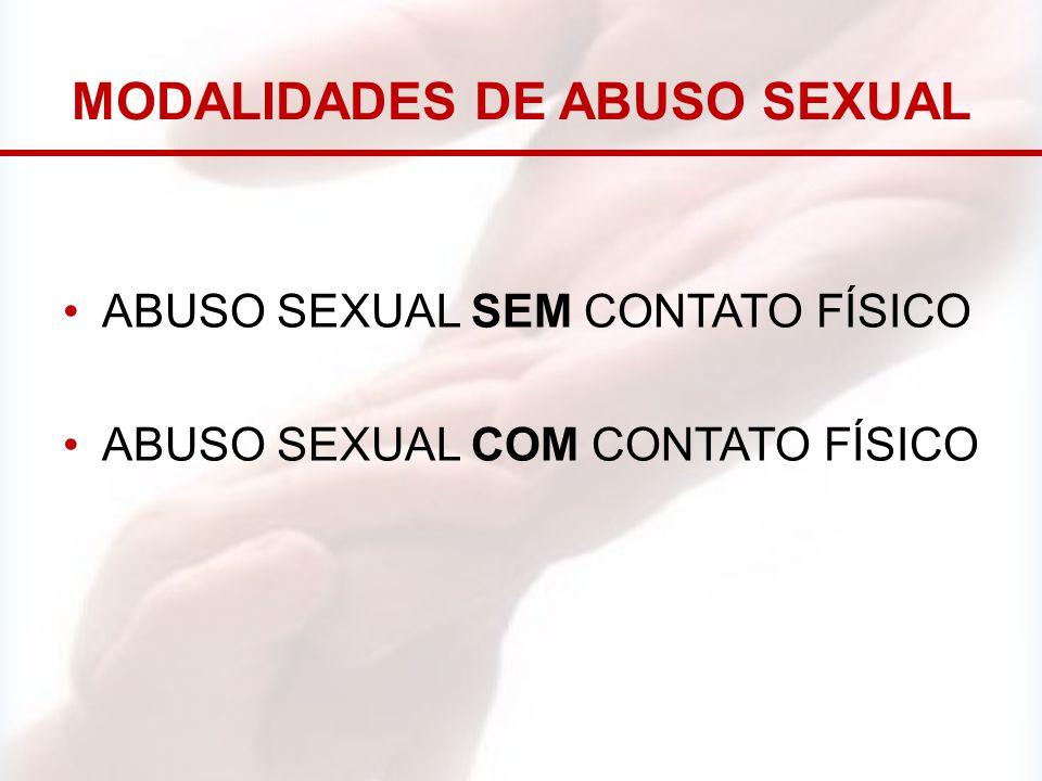 MODALIDADES DE ABUSO SEXUAL ABUSO SEXUAL SEM CONTATO FÍSICO ABUSO SEXUAL COM CONTATO FÍSICO