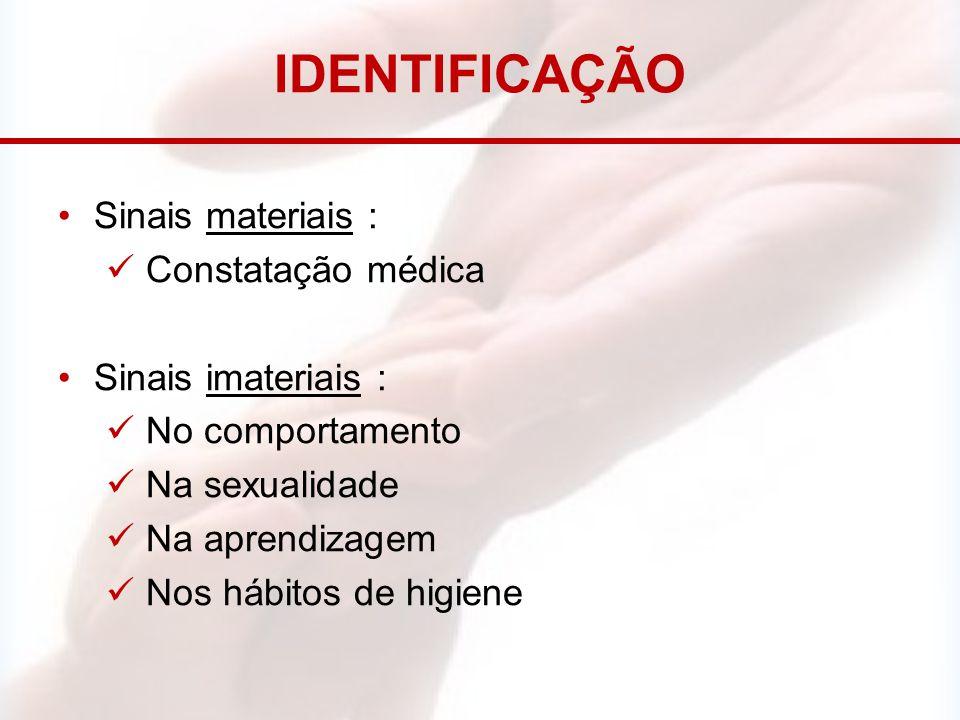IDENTIFICAÇÃO Sinais materiais : Constatação médica Sinais imateriais : No comportamento Na sexualidade Na aprendizagem Nos hábitos de higiene