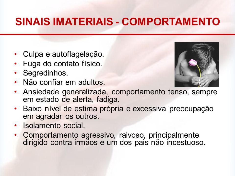 SINAIS IMATERIAIS - COMPORTAMENTO Culpa e autoflagelação. Fuga do contato físico. Segredinhos. Não confiar em adultos. Ansiedade generalizada, comport