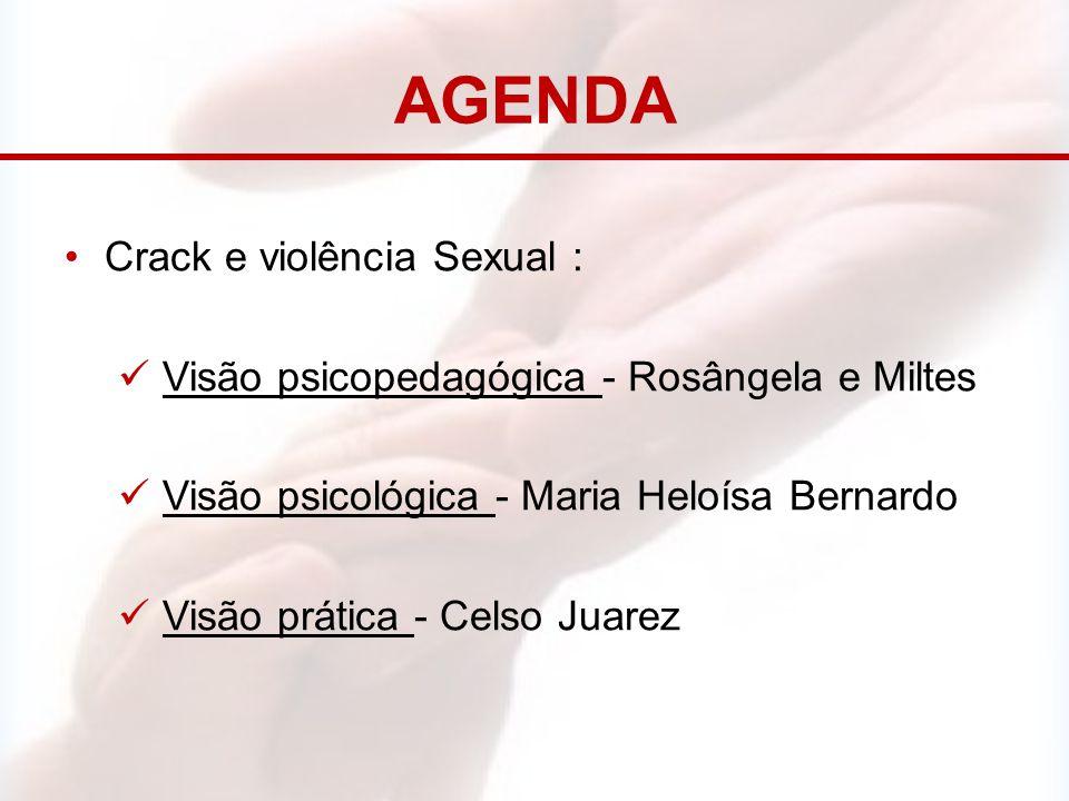 AGENDA Crack e violência Sexual : Visão psicopedagógica - Rosângela e Miltes Visão psicológica - Maria Heloísa Bernardo Visão prática - Celso Juarez