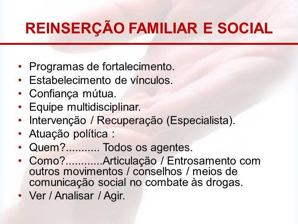REINSERÇÃO FAMILIAR E SOCIAL Programas de fortalecimento. Estabelecimento de vínculos. Confiança mútua. Equipe multidisciplinar. Intervenção / Recuper