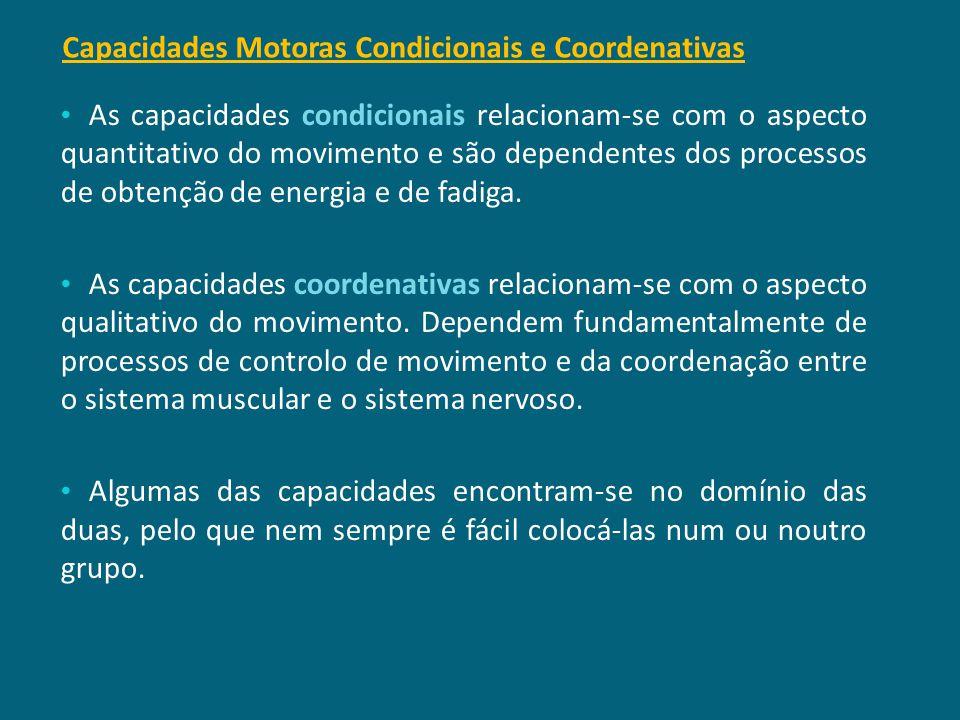 Capacidades Motoras Condicionais e Coordenativas É através das capacidades físicas que se consegue executar acções motoras, desde as mais simples às m