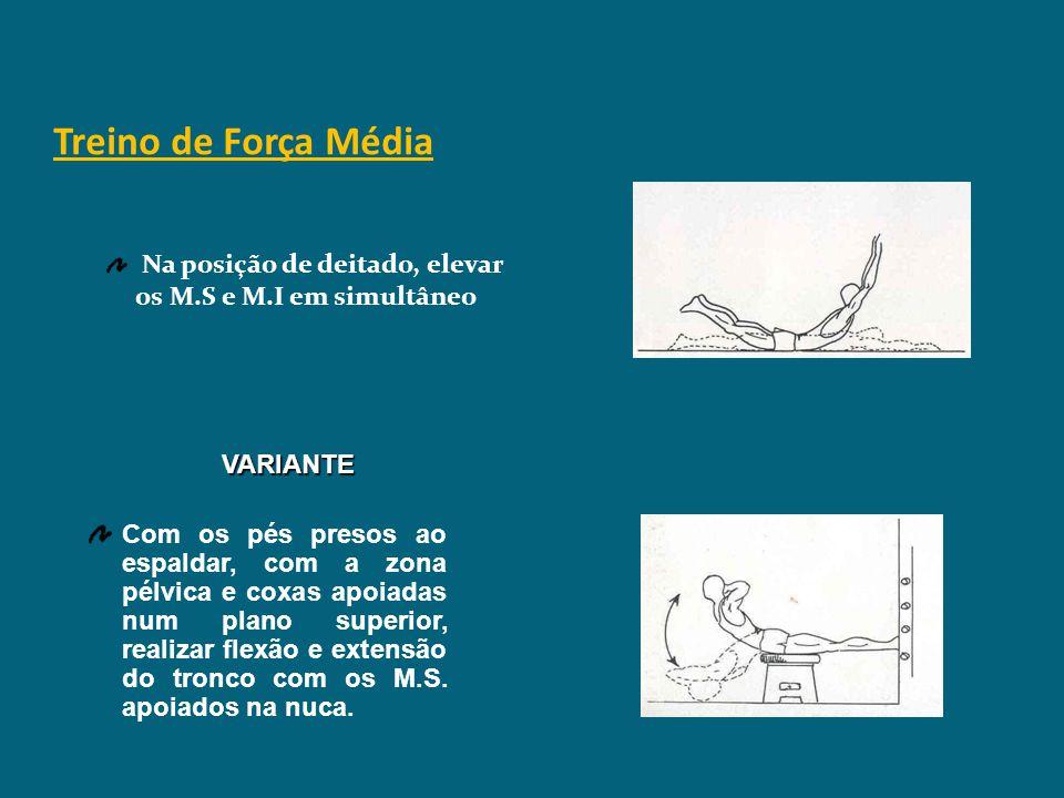 Treino de Força Média VARIANTES Em decúbito dorsal, flectir o tronco e rodar em direcção a um dos M.I., que flecte em direcção ao tronco (alternando e