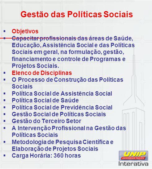  Objetivos  Capacitar profissionais das áreas de Saúde, Educação, Assistência Social e das Políticas Sociais em geral, na formulação, gestão, financ