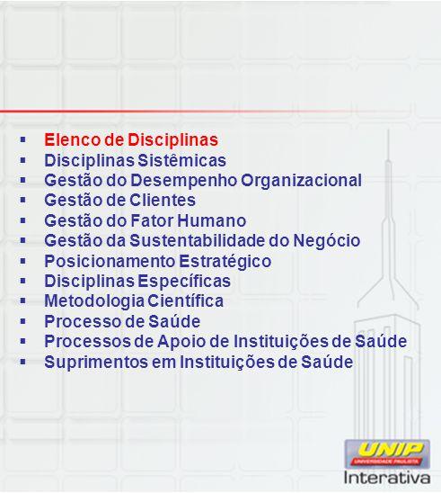  Elenco de Disciplinas  Disciplinas Sistêmicas  Gestão do Desempenho Organizacional  Gestão de Clientes  Gestão do Fator Humano  Gestão da Suste