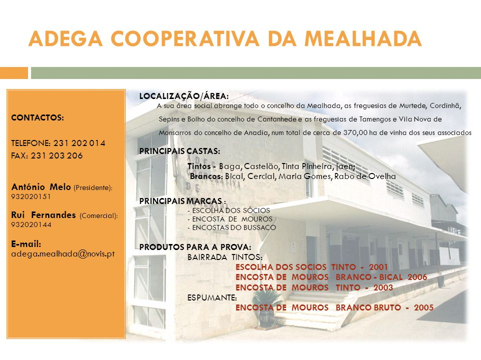 ADEGA COOPERATIVA DA MEALHADA LOCALIZAÇÃO/ÁREA: A sua área social abrange todo o concelho da Mealhada, as freguesias de Murtede, Cordinhã, Sepins e Bo