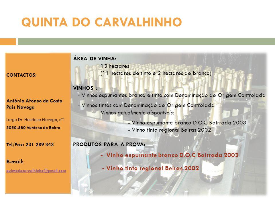 QUINTA DO CARVALHINHO ÁREA DE VINHA: 13 hectares (11 hectares de tinto e 2 hectares de branco) VINHOS : - Vinhos espumantes branco e tinto com Denomin