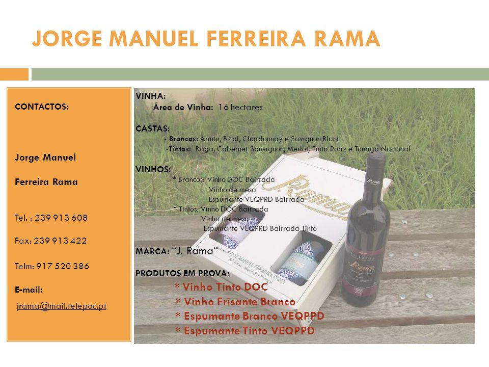 JORGE MANUEL FERREIRA RAMA CONTACTOS: Jorge Manuel Ferreira Rama Tel. : 239 913 608 Fax: 239 913 422 Telm: 917 520 386 E-mail: jrama@mail.telepac.pt V