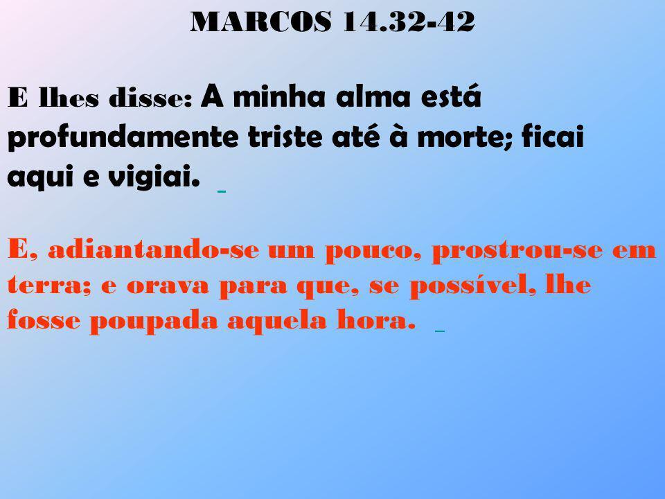 MARCOS 14.32-42 E lhes disse: A minha alma está profundamente triste até à morte; ficai aqui e vigiai. E, adiantando-se um pouco, prostrou-se em terra