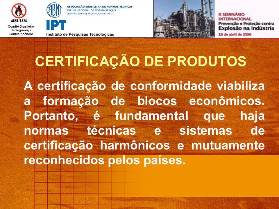 Comitê Brasileiro de Segurança Contra Incêndio CERTIFICAÇÃO DE PRODUTOS A certificação de conformidade viabiliza a formação de blocos econômicos.