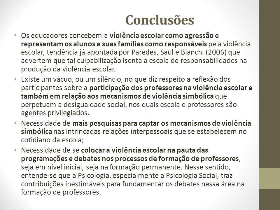 Conclusões Os educadores concebem a violência escolar como agressão e representam os alunos e suas famílias como responsáveis pela violência escolar,