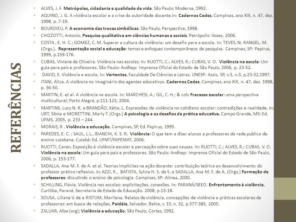 REFERÊNCIAS ALVES, J. F. Metrópoles, cidadania e qualidade de vida. São Paulo: Moderna, 1992. AQUINO, J. G. A violência escolar e a crise da autoridad