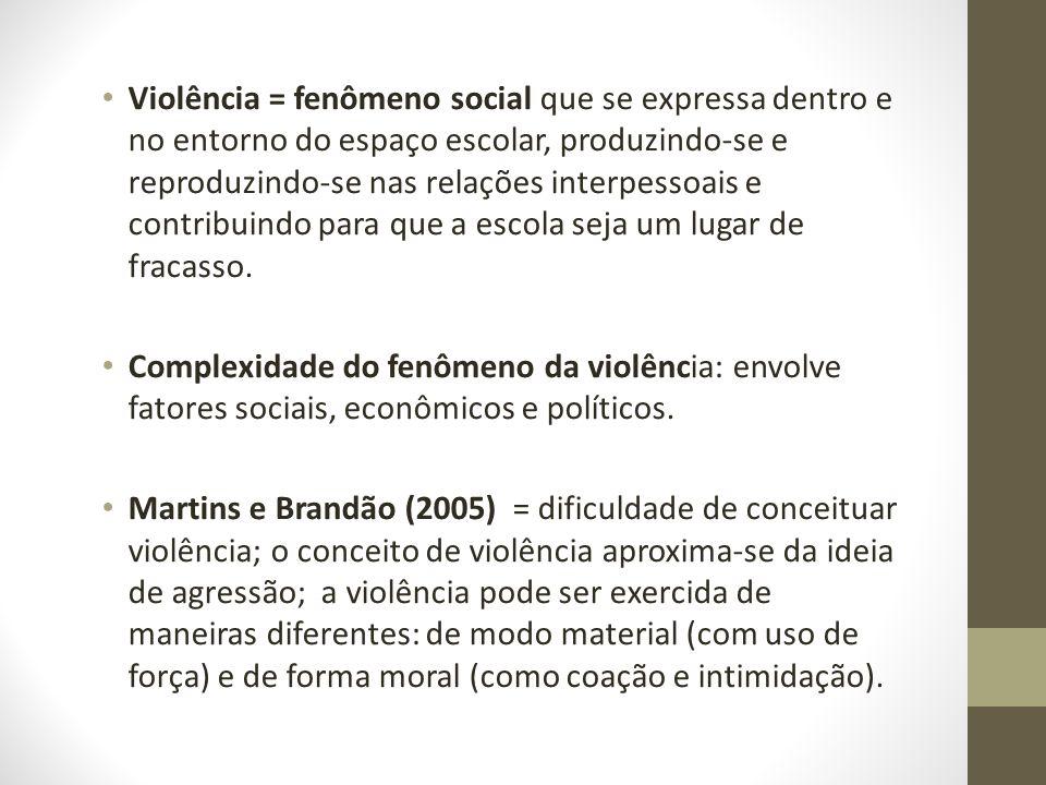 Violência = fenômeno social que se expressa dentro e no entorno do espaço escolar, produzindo-se e reproduzindo-se nas relações interpessoais e contri