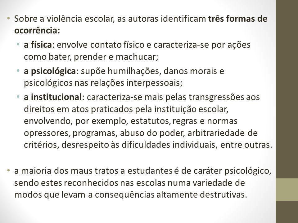 Sobre a violência escolar, as autoras identificam três formas de ocorrência: a física: envolve contato físico e caracteriza-se por ações como bater, p