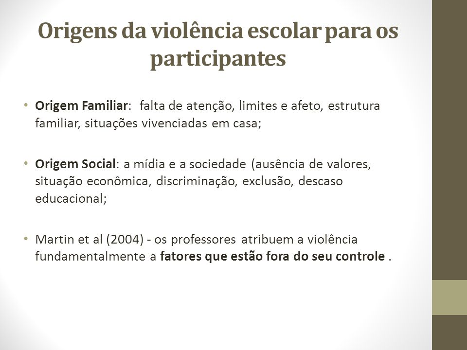 Origens da violência escolar para os participantes Origem Familiar: falta de atenção, limites e afeto, estrutura familiar, situações vivenciadas em ca
